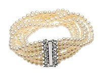 LoveBrightJewelry Sterling Silver and Freshwater Cultured Pearl 7 Strand Bracelet 7.5 Inch/4 4.5 MM