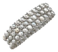 LoveBrightJewelry Sterling Silver and Freshwater Silver Grey Pearl Stretch Bracelet 6 MM