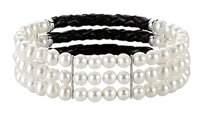 LoveBrightJewelry Sterling Silver and Freshwater White Cultured Pearl Triple Row Bracelet 7 Inch / 5 5.5 MM