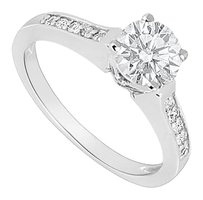 LoveBrightJewelry Sterling Silver Cubic Zirconia Engagement Ring 0.60 CT TGW