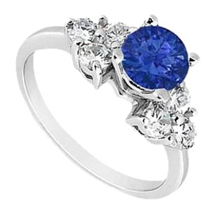 LoveBrightJewelry Sterling Silver Diffuse Sapphire and Cubic Zirconia Engagement Ring 0.75 CT TGW