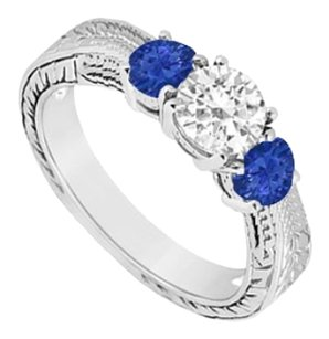LoveBrightJewelry Sterling Silver Diffuse Sapphire and Cubic Zirconia Three Stone Ring 0.50 CT TGW