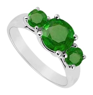 LoveBrightJewelry Sterling Silver Frosted Emerald Three Stone Ring 1.25 Carat Total Gem Weight