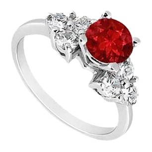 LoveBrightJewelry Sterling Silver GF Bangkok Ruby and Cubic Zirconia Engagement Ring 0.75 CT TGW