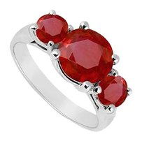 LoveBrightJewelry Sterling Silver GF Bangkok Ruby Three Stone Ring 0.50 CT TGW