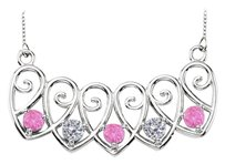 LoveBrightJewelry Sterling Silver Pink Sapphire and Cubic Zirconia Mothers Necklace Mounting