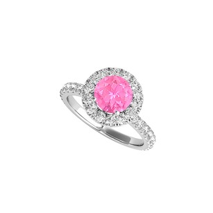 LoveBrightJewelry Sterling Silver Pink Sapphire Cz Halo Engagement Ring
