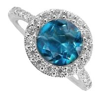 LoveBrightJewelry Sterling Silver Ring with Blue Topaz and Cubic Zirconia