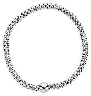 LoveBrightJewelry Sterling Silver White Rhodium Plated 4.3mm Woven Stretch Bracelet