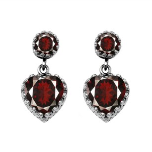 LoveBrightJewelry Striking Red Garnet Heart Stud Earrings Sterling Silver