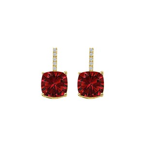 LoveBrightJewelry Stunning Ruby CZ Square Earrings Push Back Yellow Gold