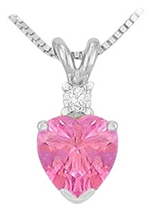 LoveBrightJewelry Synthetic Heart Shaped Pink Sapphire Solitaire Pendant Sterling Silver