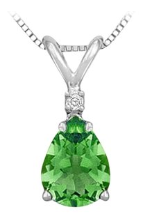 LoveBrightJewelry Synthetic Pear Shaped Emerald Solitaire Pendant 925 Sterling Silver