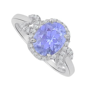 LoveBrightJewelry Tanzanite And Cubic Zirconia Oval Ring In White Gold
