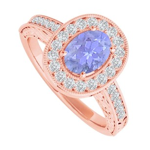 LoveBrightJewelry Tanzanite And Cz Halo Ring In 14k Rose Gold Vermeil