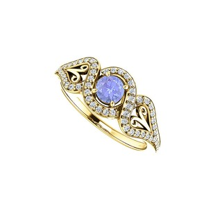 LoveBrightJewelry Tanzanite CZ Crossover Halo Ring Yellow Gold Vermeil