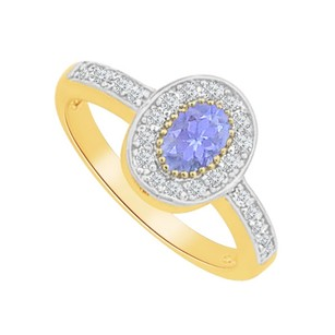 LoveBrightJewelry Tanzanite CZ Oval Shaped Ring in Yellow Gold Vermeil