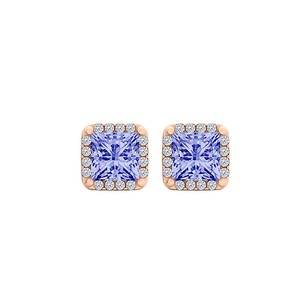 LoveBrightJewelry Tanzanite CZ Square Halo Stud Earrings 14K Rose Gold
