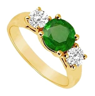 LoveBrightJewelry Three Stone Created Emerald and Cubic Zirconia Ring Yellow Gold Vermeil 1.00 CT TGW