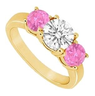 LoveBrightJewelry Three Stone Created Pink Sapphire and Cubic Zirconia Ring Yellow Gold Vermeil 1.50 CT TGW