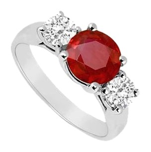 LoveBrightJewelry Three Stone Created Ruby and Cubic Zirconia Ring 925 Sterling Silver 1.75 CT TGW