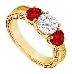 LoveBrightJewelry Three Stone Created Ruby and Cubic Zirconia Ring Yellow Gold Vermeil 1.00 CT TGW