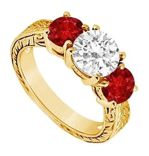 LoveBrightJewelry Three Stone Created Ruby and Cubic Zirconia Ring Yellow Gold Vermeil 1.50 CT TGW