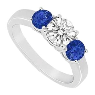 LoveBrightJewelry Three Stone Created Sapphire and Cubic Zirconia Ring 925 Sterling Silver 0.50 CT TGW