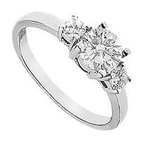 LoveBrightJewelry Three Stone Cubic Zirconia Engagement Ring 925 Sterling Silver 1.25 CT TGW