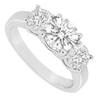 LoveBrightJewelry Three Stone Cubic Zirconia Ring 925 Sterling Silver 1.50 CT TGW