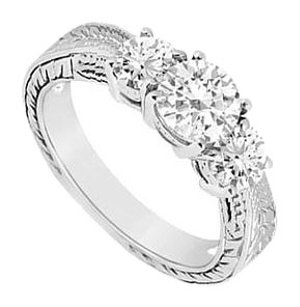 LoveBrightJewelry Three Stone Cubic Zirconia Ring Sterling Silver 0.75 CT CZs