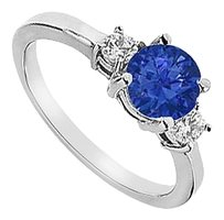 LoveBrightJewelry Three Stone Diffuse Sapphire and Cubic Zirconia Engagement Ring 925 Sterling Silver 1.25 CT TGW