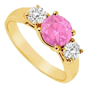 LoveBrightJewelry Three Stone Pink Sapphire and Diamond Ring 14K Yellow Gold 0.50 TGW