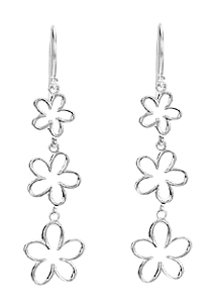 LoveBrightJewelry Triple Floral Design Rhodium Plated 925 Sterling Silver Dangle Earrings