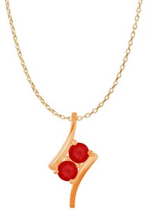 LoveBrightJewelry Two Stone Rubies Freeform Pendant 14K Rose Gold Vermeil