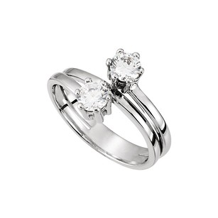 LoveBrightJewelry Unique Split Shank Two Stone Diamonds Engagement Ring