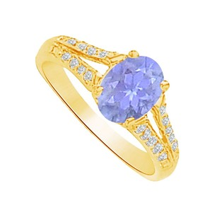 LoveBrightJewelry Unique Tanzanite And Cz Split Shank Ring 1.50 Ct Tgw