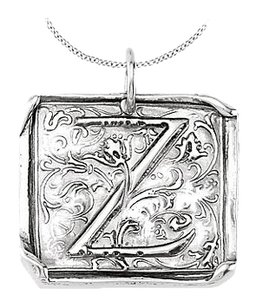 LoveBrightJewelry Vintage Pendant with Letter Z Engraved Initial Necklace in Rhodium Plating 925 Sterling Silver