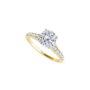 LoveBrightJewelry Yellow Gold Engagement Ring Jewelry With Prong Set Cz