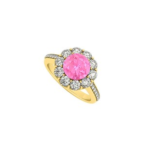 LoveBrightJewelry Yellow Gold Vermeil September Birthstone Pink Sapphire And Cubic Zirconia Halo Engagement Ring