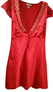 Lucca Silk Top Red and Cream