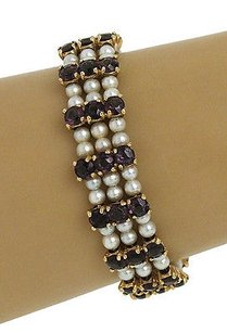 Lucien Piccard Lucian Piccard 14kt Yellow Gold Pearl 15ctw Amethyst Wide Bracelet