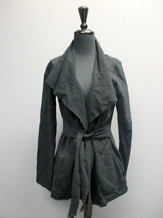 Lucky Brand Lucky Cotton Long Sleevesolid Tie Belt Open Front Szl Sm4729 Black Jacket