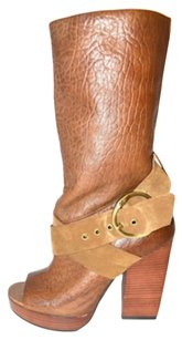 Lucky Brand Leather almond /peanut brittle Boots
