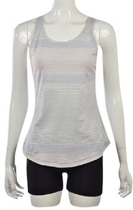 Lululemon Womens Beige Sleeveless Striped Nylon Shirt Top Multi-Color