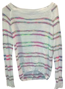 Lulumari Striped Neon Crochet Sweater