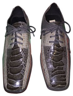 Luna Boy's Italian Designer Dress Shoes; Teo-Toned Faux Alligator by Luna (Size: 2)[ Tommies Closet ]