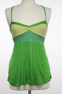 Lux Womens Green Yellow Top Multi-Color