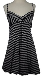 Lux Womens Gray Striped Sleeveless Polyester Blend Sheath Dress