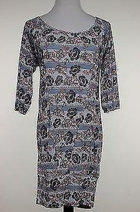 Lux Womens Blue Floral Knit Shirt 34 Sleeve Viscose Blouse Tunic